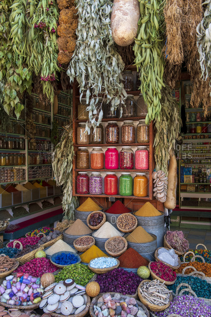 October 28, 2019: A display of spices in spice market (Rahba Kedima Square) in the souks of Marrakech, Morocco, North Africa, Africa
