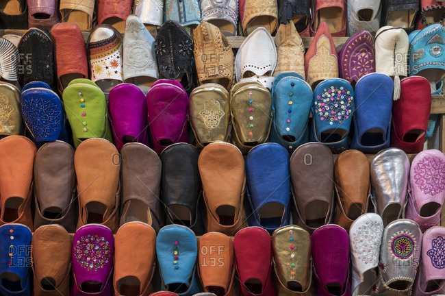 Colorful babouche slippers for sale in the Marrakech souks, Place Djemaa El Fna, Marrakech, Morocco, North Africa, Africa