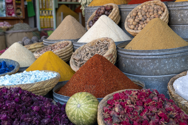 Colorful display of spices in spice market (Rahba Kedima Square) in the souks of Marrakech, Morocco, North Africa, Africa