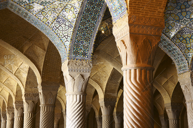 Iran- Fars Province- Shiraz- Columns and ribbed vaulting of Vakil Mosque