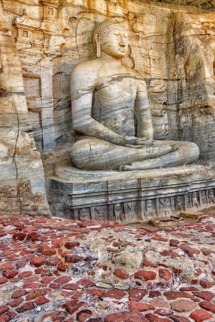 Sri Lanka- North Central Province- Polonnaruwa- Sculpture of meditating Buddha in Gal Vihara temple