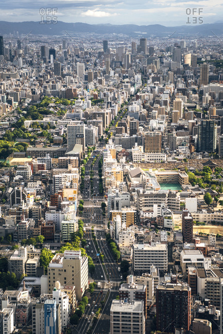Japan- Osaka Prefecture- Osaka- Aerial view of densely populated city