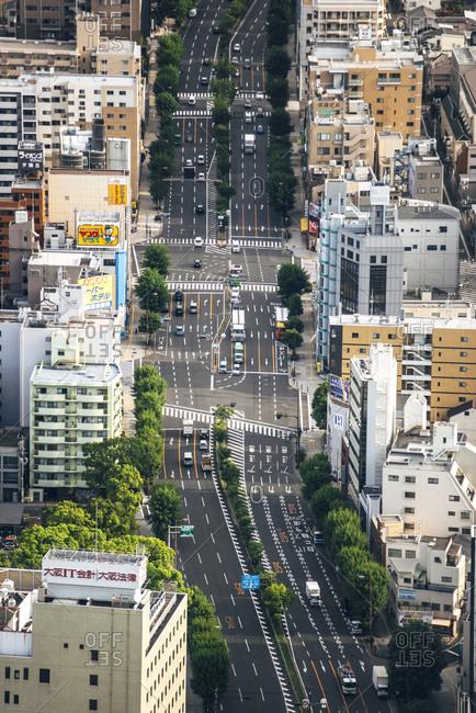 Japan- Osaka Prefecture- Osaka- Aerial view of city traffic