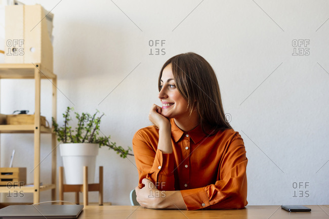 Smiling female freelancer sitting at desk at home having a break