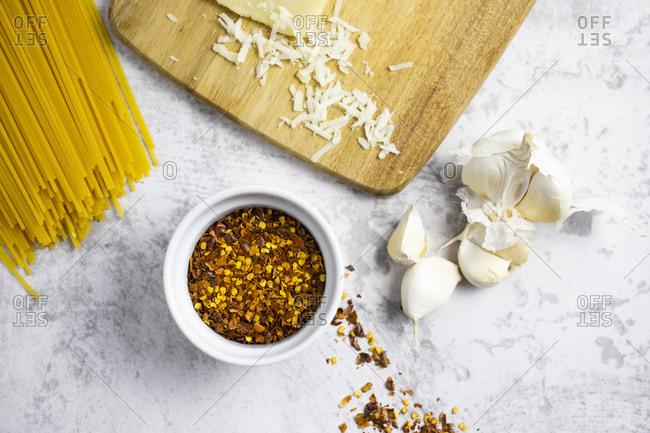Chilliseeds-granacheese- garlic and spaghetti