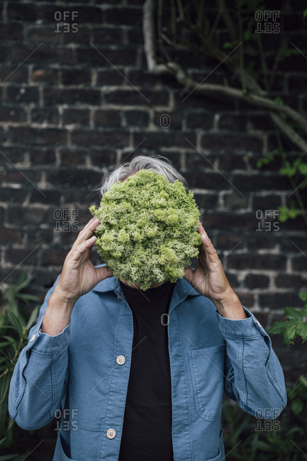 Senior man holding a lettuce head in front of his face