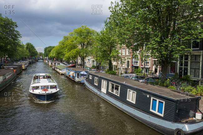 The Netherlands- North Holland Province- Amsterdam-Boats on Prinsengracht canal