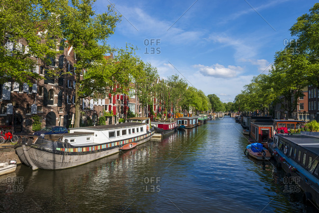 The Netherlands- North Holland Province- Amsterdam-Canal houses on Brouwersgracht