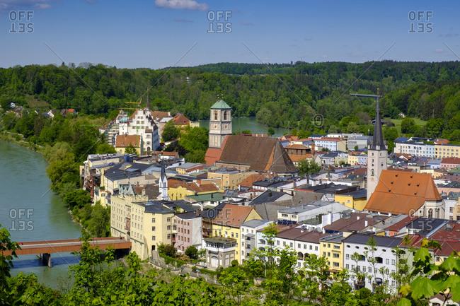 Germany- Bavaria- Upper Bavaria-Wasserburgam Inn- View of old town and river