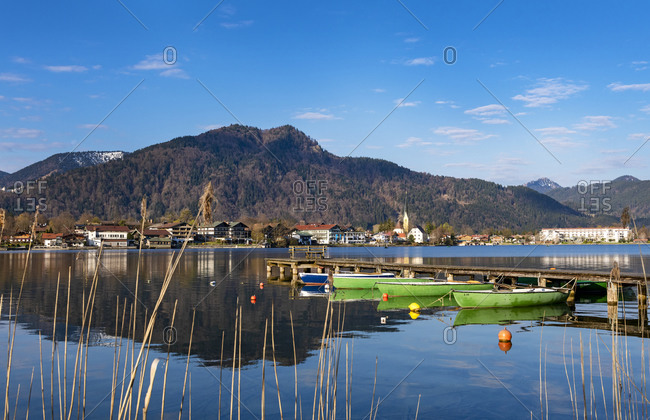 Germany- Bavaria- Rottach-Egern- Boats moored to lakeshore jetty