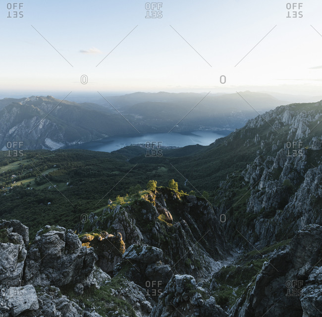 Scenic view of mountain ranges against sky at dusk- Orobie- Lecco- Italy