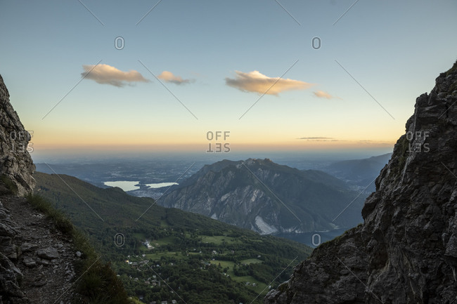 Idyllic view of mountain ranges against sky at dusk- Orobie- Lecco- Italy
