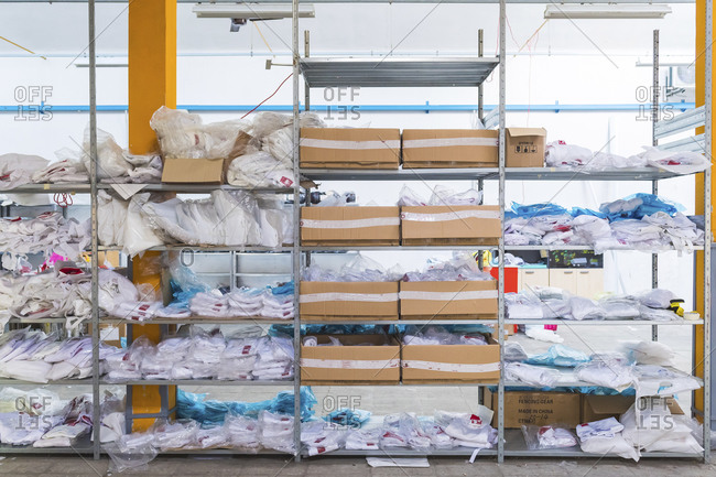Storehouse in a factory for fencing supplies