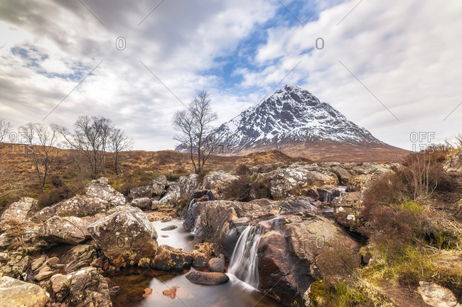 UK- Scotland- Etive Mor Waterfall with Buachaille Etive Mor mountain in background