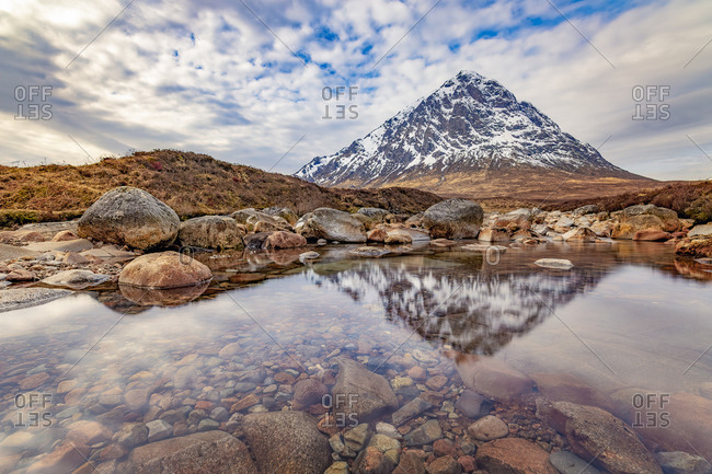 UK- Scotland- Bank of River Coupall with Buachaille Etive Mor mountain in background