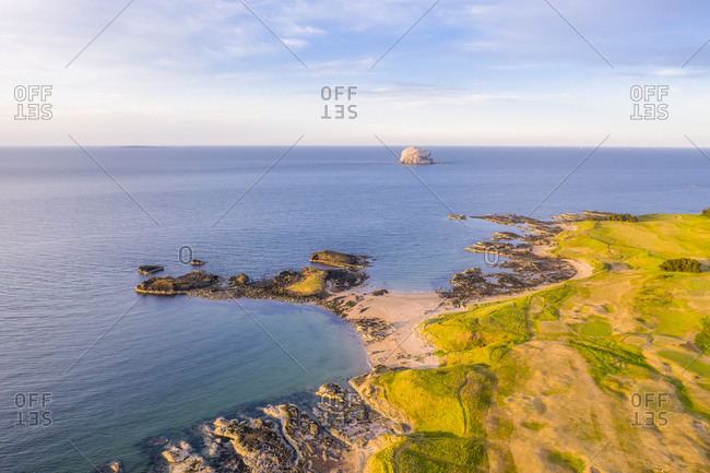 UK- Scotland- North Berwick- Drone view of Firth of Forth and coastal town in summer
