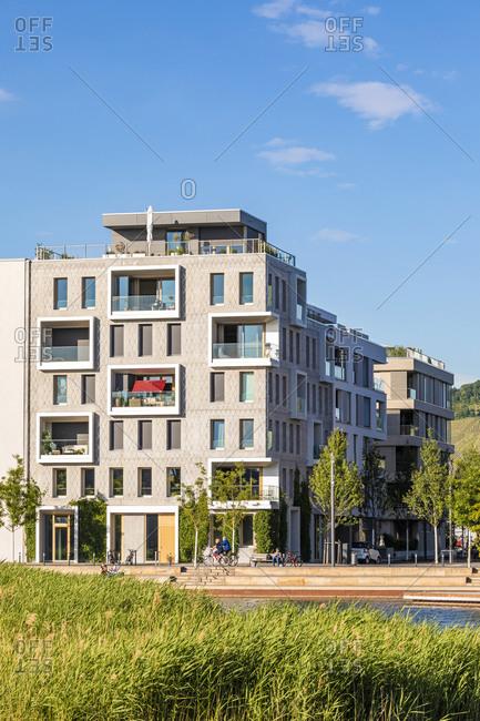 Germany- Baden-Wrttemberg- Heilbronn- Neckar- district of Neckarbogen- New energy efficient apartment buildings