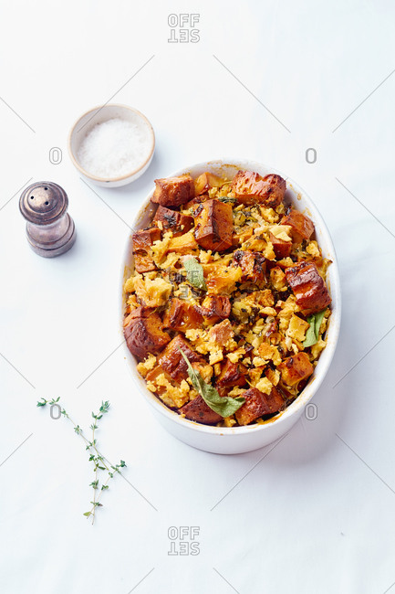 Vegetarian cornbread stuffing with sage and other herbs