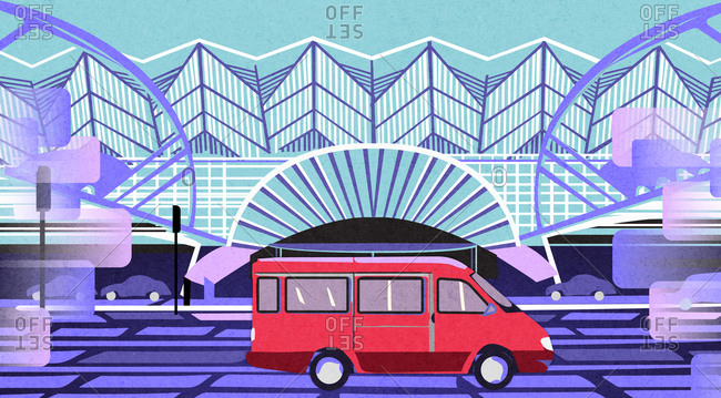 Lisbon, Portugal - July 3, 2020: Illustration of a red van in front of the Lisbon Orient Station