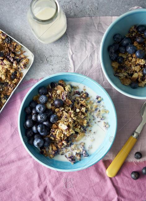 Breakfast blueberry granola in bowls
