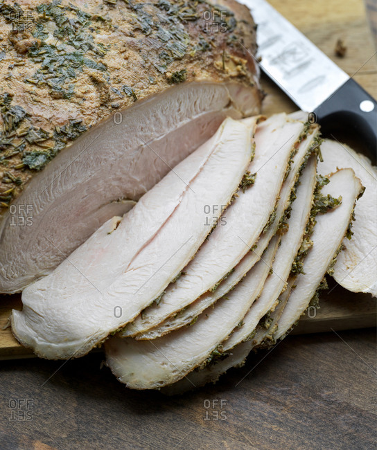 Butter and herb basted turkey breast