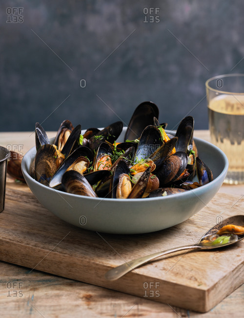 Steamed mussels with spring onion and ginger broth