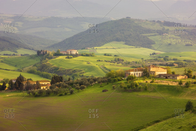 April 26, 2014: Italy, Tuscany, Volterra, Farms among Rolling Hills