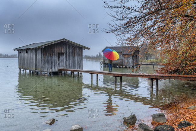 Kochel am See, Kochelsee, Bad TOlz-Wolfratshausen district, Upper Bavaria, Germany, Europe. A rainy day at the Kochelsee