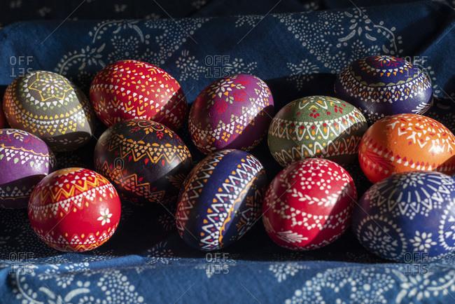 Sorbian Easter eggs, wax batik technique, richly decorated chicken eggs.