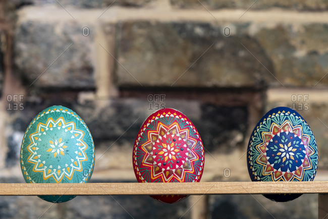 Colorful Sorbian Easter eggs in studio
