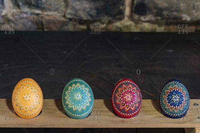 Colorful Sorbian Easter eggs in studio