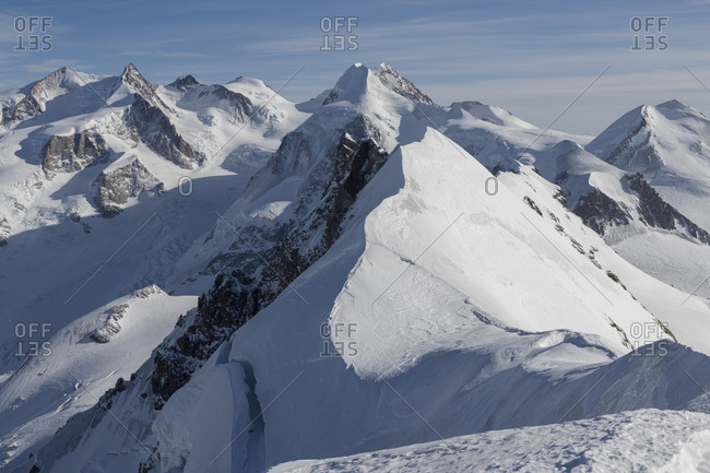 Switzerland, Valais, Zermatt, view from the main summit of the Breithorn to Monte Rosa, Liskamm, Breithorn Mittelgipfel and twins Pollux and Castor