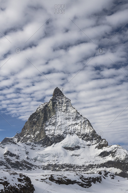 Switzerland, Valais, Zermatt, clouds over the Matterhorn from the east, Furgggrat, east wall and HOrnligrat