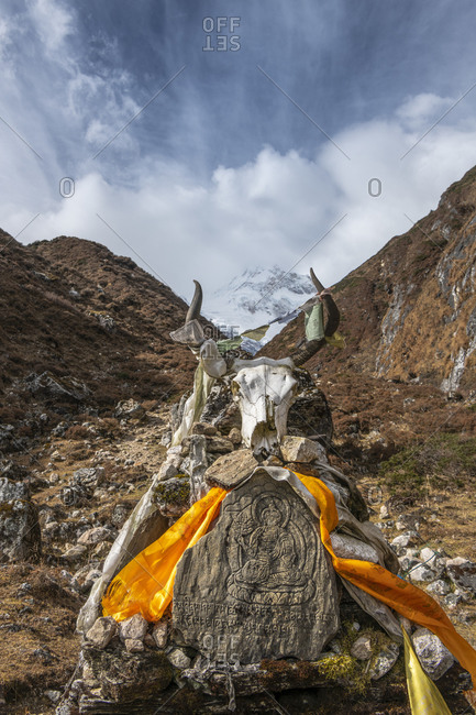 Prayer stones on the hike to the east wall of Manaslu