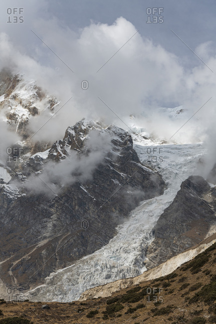 View of the Manaslu east face and the Manaslu glacier
