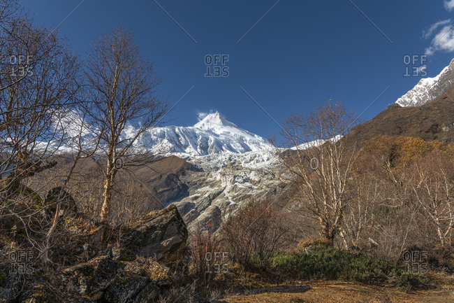 View of the Manaslu (8,156 m) in Nepal