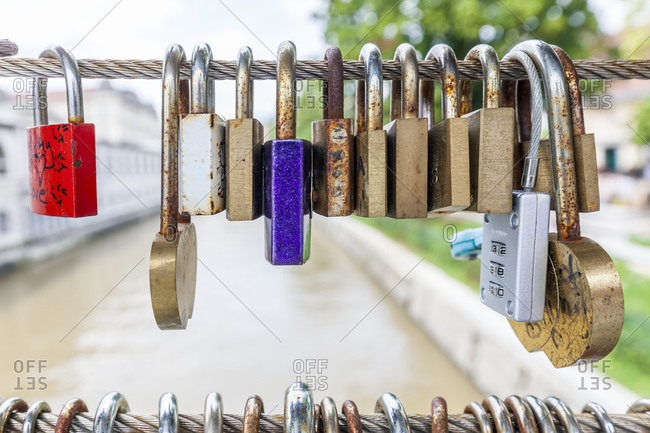 June 12, 2016: Love padlocks on a bridge, Butchers' Bridge, Ljubljana, Slovenia, Europe