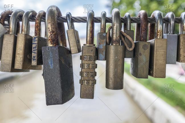 Love padlocks on a bridge, Butchers' Bridge, Ljubljana, Slovenia, Europe