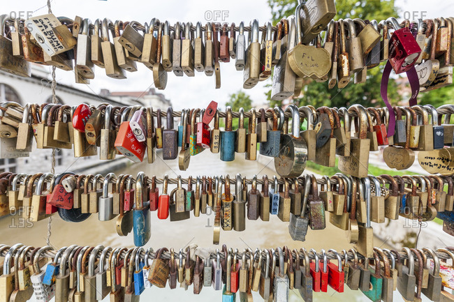 June 12, 2016: Love padlocks on a bridge, Butchers' Bridge, Ljubljana, Slovenia, Europe