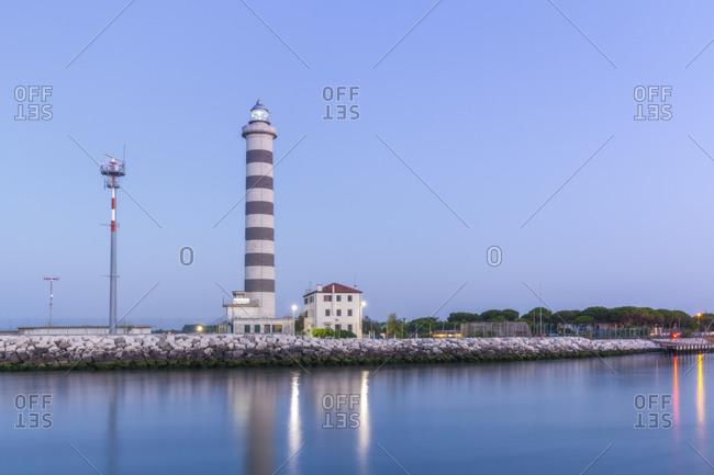 Jesolo, lighthouse beach at dawn, adriatic sea, Venice, veneto, italy