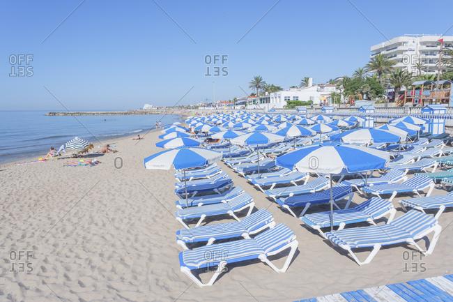 July 21, 2019: Sitges beach, Sitges, Costa Dorada, Catalonia, Spain