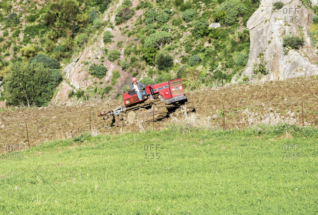 January 4, 2020: farmer driving tractor in field, Caccamo, Sicily, Italy