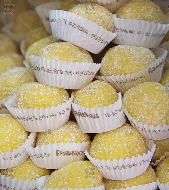 December 12, 2019: Delicacies made up of almonds and lemon filling with a marzipan cover, Erice, Sicily, Italy, Europe