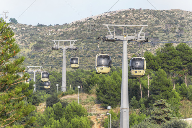 December 20, 2019: Trapani-Erice cable cars, Erice, Sicily, Italy