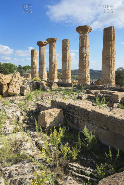 Remains of Temple of Heracles, Valley of the Temples, Agrigento, Sicily, Italy