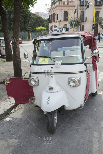 December 11, 2019: Ape taxis, Palermo, Sicily, Italy, Europe,
