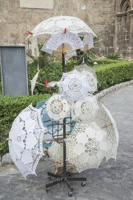 December 11, 2019: Hand made Parasols, Palermo, Sicily, Italy, Europe,