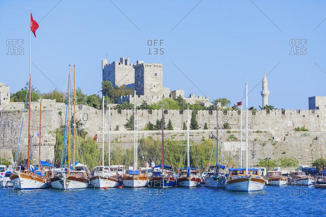 May 29, 2019: Bodrum Castle and Harbor, Bodrum, Mugla, Turkey