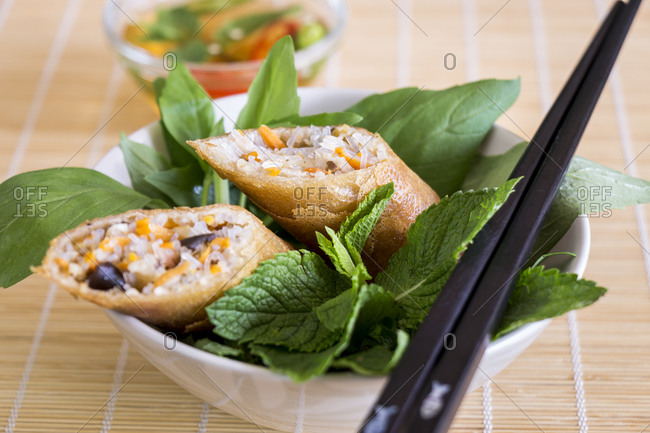 Delicious spring roll appetizer broken open to display the filling served with a fresh herb salad close up high angle view