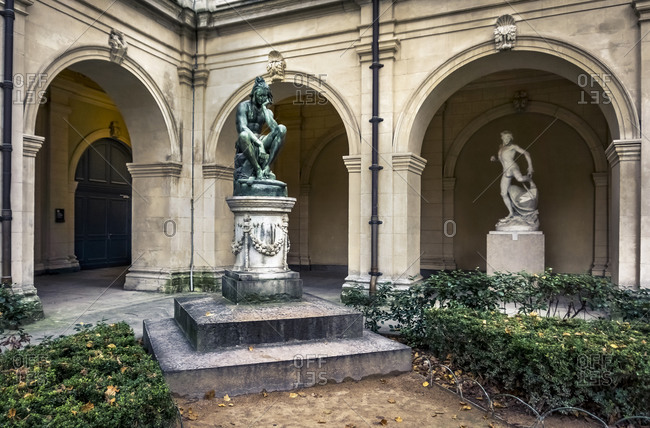 December 6, 2019: The Jardin du palais Saint Pierre in the musee des Beaux-Arts de Lyon. The garden belonged to the old Benedictine abbey and was designed in the XVI century. In 1884 it was finally reformed. Lyon has been a UNESCO World Heritage Site since 1998.